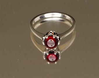 AA 6mm Mozambique Garnet Cabochon Birthstone Ring, January Birthstone, Nickel Free Garnet Ring, 2nd Anniversary Gift