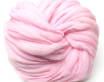 Handspun super bulky yarn, 50 yards and 3 ounces, 86 grams, spun super chunky, thick and thin in soft pink merino wool