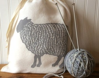 Knitting Project Bag, Organic Linen Drawstring Bag, Light Gray Sheep Design