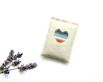 Lavender sachet, 5 x 3.5 inches linen, colorful heart embroidered, drawer freshener gift, Mothers day, organic lavender buds,  gift under 15