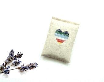 Lavender sachet, colorful embroidered heart, drawer freshener, organic lavender buds, linen sachet gift under 15