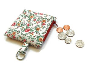 Coin purse with key ring, change pouch, floral cotton fabric, zipper pouch, coin keeper, small wallet gift for her, money holder