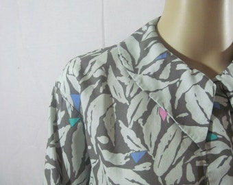 1970's ABSTRACT PRINT BLOUSE by Alexander Julian of Colours Size 8 small