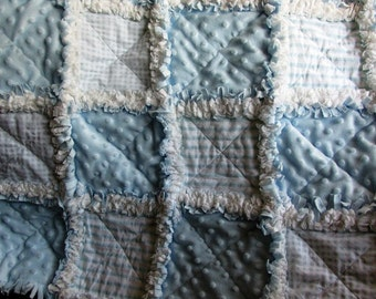 Baby boy rag quilt, minky, stripes, baby blue