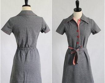 Vintage 1970s Dress 70s Dress Womens Mini Dress 1970s Day Dress Casual Mini Dress Shirt Waist Dress Womens Size Small