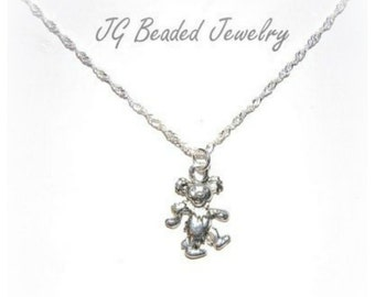 Dancing Bear Necklace, Grateful Dead Jewelry, Silver Bear Charm Necklace