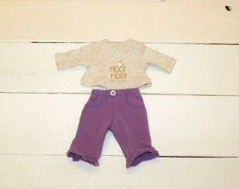 Purple Pants and Tan Tshirt - 12 inch doll clothes