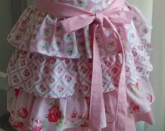Pink Tiered Ruffled Apron Sweet Little Pink and White Medallions Lattice Pin Dots and Roses All Cotton Fabrics