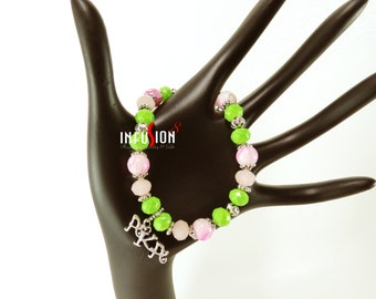 Pink and Green  AKA  Beaded Charm Bracelet  ****Plus FREE gift