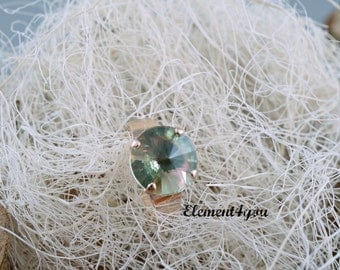 Swarovski Crystals Mint Green 12mm Round Crystal Ring Adjustable Light Rose Gold Ring Gift for Her Holiday Christmas Birthday Special Girl