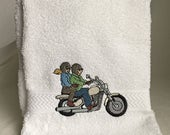 Two riders on a motorcycle embroidered on white hand towel
