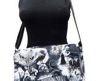 "USA Handmade Netbook bag Style with ""HUNTED HOUSE"" Pattern Messenger bag With Adjustable Handle Purse, Cotton, New"