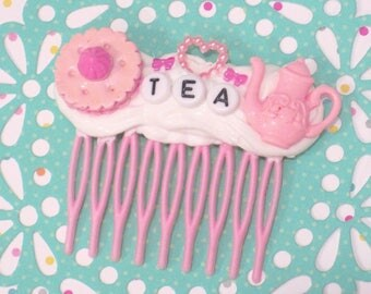Tea Party Hair Accessory, Kawaii Hair Clip, Decoden, Tea Time Tiara, Alice in Wonderland, Mad Hatter Tea Party, Birthday Hair Accessory