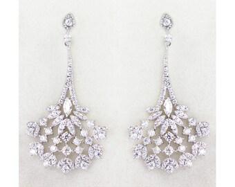 Silver Crystal Bridal Earrings, Chandelier bridal earrings, Bridesmaid jewelry - Mia Peacock Earrings