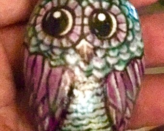Owl river stone painted owl rock
