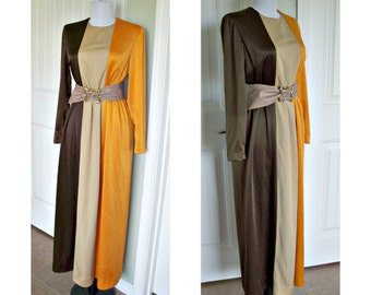 Vintage dress by Futura Couture of New York - color block - vintage belt - vintage evening dress