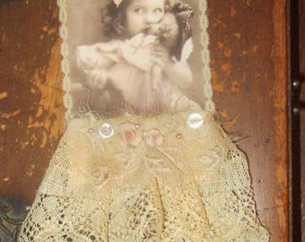 Vintage Lace Collage Sweet Girl with her Doll Embellished Altered Tag
