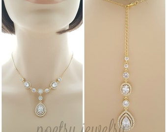 Gold Bridal Back Necklace Gold Wedding Crystal Backdrop Necklace Cubic Zirconia Gold Bridal Necklace, Joni Necklace