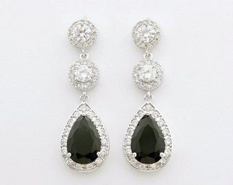 Black Bridal Earrings, Black Wedding Jewelry, Cubic Zirconia Drops, Black Crystal Earrings, Anya Black Wedding Earrings