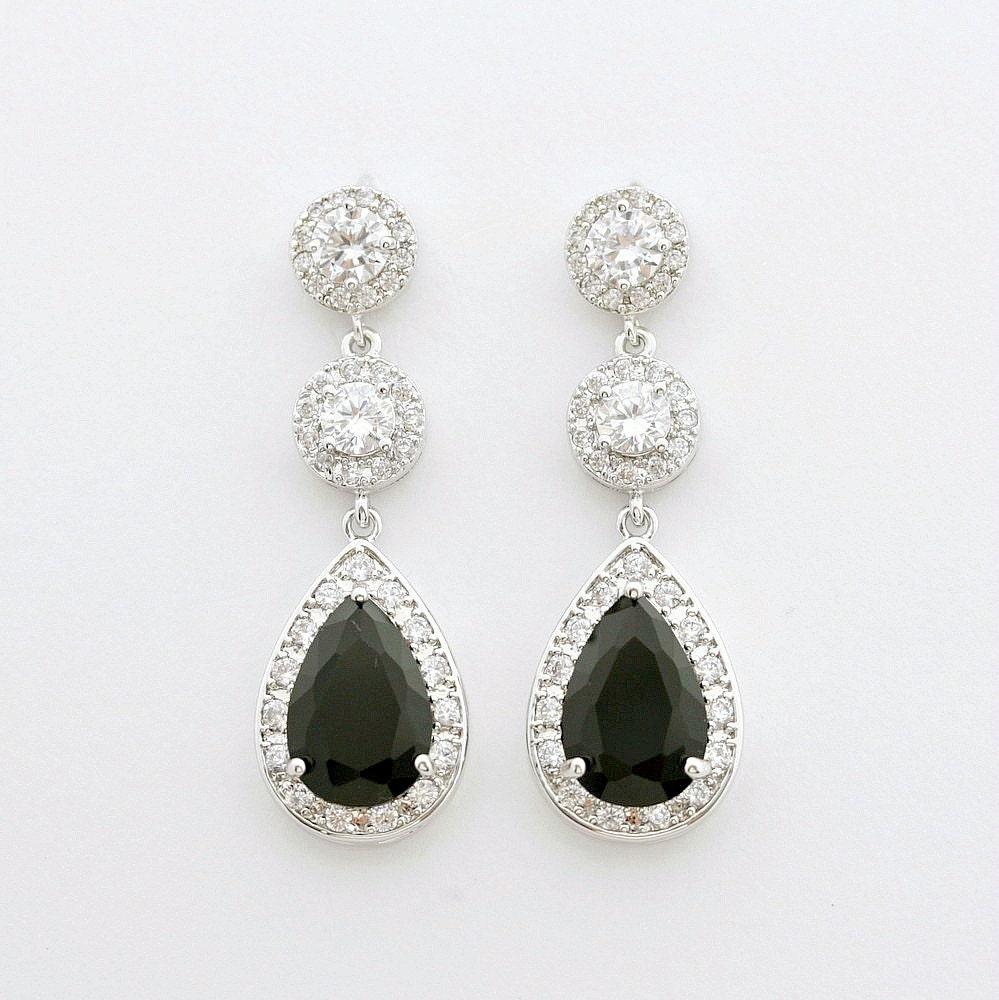 black bridal earrings black wedding jewelry cubic zirconia