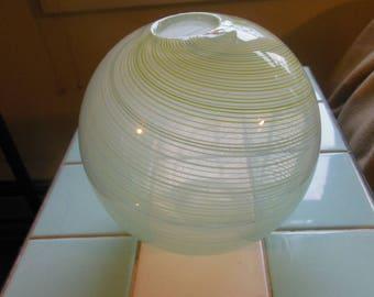 Dansk Art Glass Round Vase, Vintage 70s, Blown Sphere, Ribbons