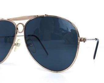 vintage 80's deadstock aviator sunglasses gold metal frames black lenses sun glasses eyewear oversized men women retro beige browline 143
