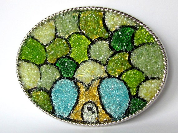 Ladies Fantasy Fairy House Tree belt Buckle, Stained Glass