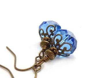 Sapphire Blue Faceted Drop Earrings - Wire Wrapped Glass Dangles - Ocean Blue - Petite Earrings - Bridal Blue Jewelry