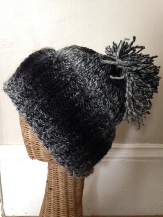 Black and White Wool Beanie Hat with Folded Ribbed Brim and Pom Pom