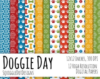 Dog Themed Digital Printable Paper for Cards, Crafts, Art and Scrapbooking Set of 12 - Doggie Day - Instant Download