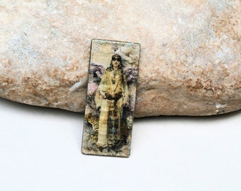 ooak french art nouveau woman pendant mix media supply for necklace handmade