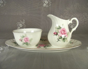 Vintage White Crown Staffordshire English Fine Bone China Creamer and Sugar Set Pink Rose Design