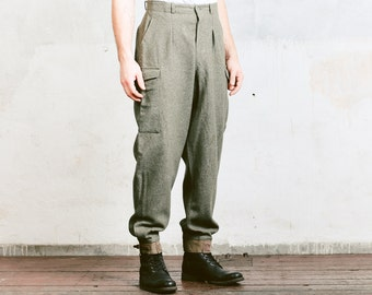 Vintage 40s Military Wool Trousers . Men's Grey Oversized Pants Men's Vintage Swedish Army Pants . size Extra Large XL