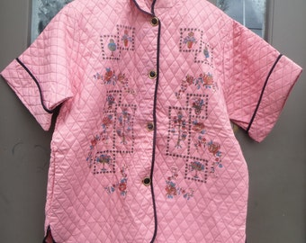 vintage  quilted pink  asian style Vintage Tele Queen  bed shirt by Nu Mode  Size 16-36