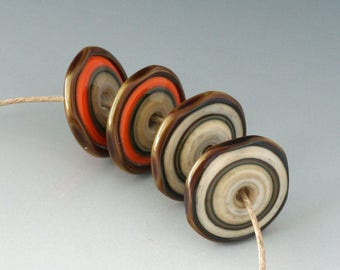 Southwest Disks - (4) Handmade Lampwork Beads - Bone, Orange