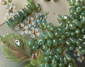 Renaissance beads, TearDrop Beads, Glass Drops, 4x6mm Drops, Teardrop Beads, Glass Drops, 4x6mm Drops,Peridot teardrops, Picasso beads #740B