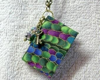 Teacher Gift - Handmade Book Necklace - Book Jewelry - Book Pendant - Book Journal - Handmade Book - Bubble Fabric - BN-17