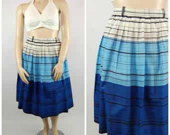 1950s Cotton Striped Skirt // Blue Black and White Volup - 50s striped skirt / Summer Nautical