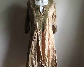 Indian Silk Taupe Tunic Dress • Bohemian Freespirit Dress • S to M