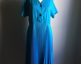 70s 60s Teal Retro Accordion Skirt Dress • Size L Oversized Avant Garde Dress