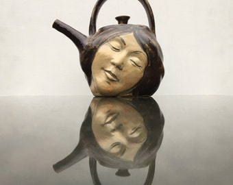 Face Teapot Serving Sculpture, Ceramic Head Dreaming in Bliss, Surreal Kitchen Art Vessel