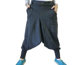 Men Women Funky Ninja Harem Blueish Charcoal Stretch Cotton Drop Crotch Pants With 6 Pockets