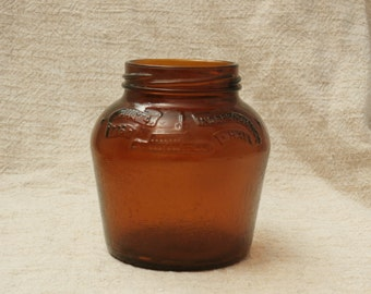 Vintage Brown Glass Jar, Independence Hall, Liberty Bell , July 4, 1776 Bicentennial Bean Jar, Anchor Hocking
