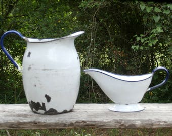 Large Old Enamelware Pitcher and Gravy Boat White and Blue and Chippy, Rustic Farmhouse Decor