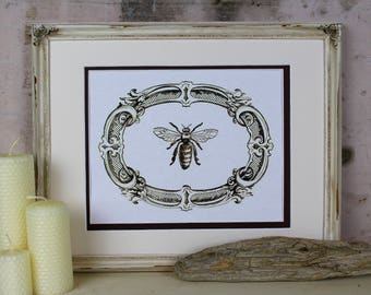 Bee Illustration Digital Art Instant Download Vintage French Honey Honeybee Printable Wall Art Home Decor Scrapbooking Crafts Greeting Card