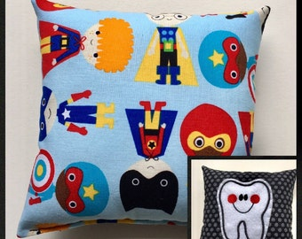 Super Hero Tooth Fairy Pillow, Super Tooth Pillow Pocket, Child Pillow, Boy Pillow, Marvel Tooth Pillow, Boy Gift, Easter Gift