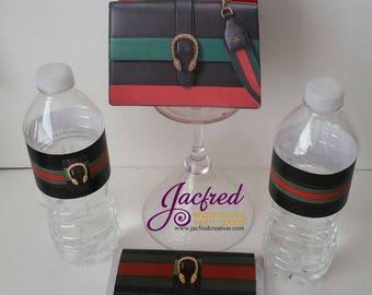 Designer inspired red. Green and black favor bag (10)