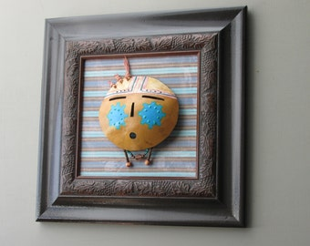 "southwestern style - wall art collage - ""Blue Cheeks""- a vintage framed gourd mask"