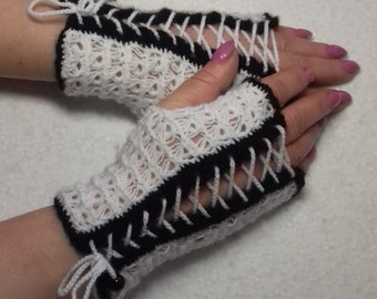 Crochet White and Black  Fingerless Mittens  Gloves Broomstick Lace ready to ship