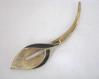 Vintage Park Lane Gold black rhinestone Calla Lilly flower brooch pin